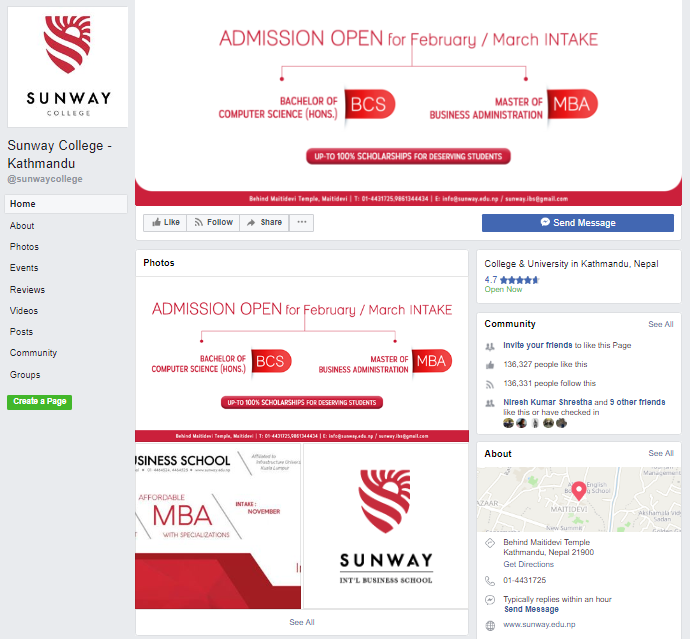 Sunway facebook management