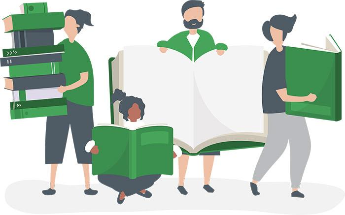 people holding books